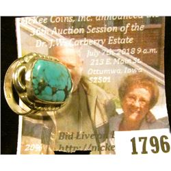 1796 . Size 6 and A Half American Indian Turquoise and Sterling Sil