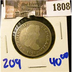 1808 . Mexican- Spanish Colony - Silver 2 Reales Dated 1818.