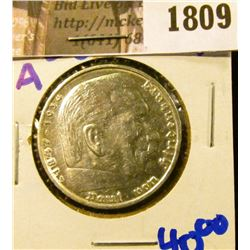 1809 . 1936-A Silver German 5 Mark Coin.  On The Front Is Von Hinde