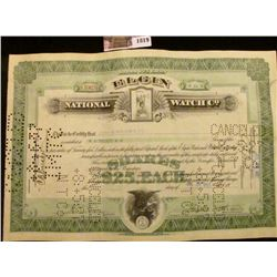 """1819 . July 30th, 1927 Stock Certificate for 20 Shares """"Elgin Natio"""