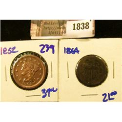 1838 . 1852 Large Cent and 1864 Two Cent Piece