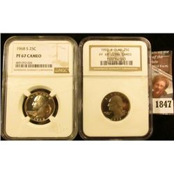 1847 . 1968-S Washington Quarter Graded Proof 67 Cameo By NGC and 1