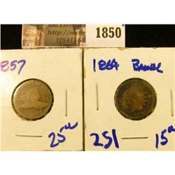 1850 . 1857 Flying Eagle Penny and 1864 Indian Head Penny