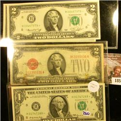 1859 . Two Crisp and Consecutive Two Dollar Star Notes Series 1976,