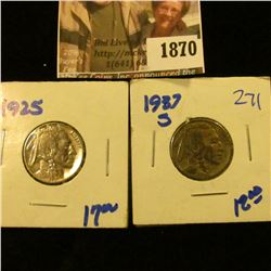 1870 . 1925 and 1937-S Buffalo Nickels