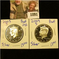 1891 . 2003-S and 2009-S Silver Proof Kennedy Half Dollars