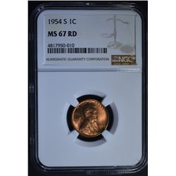 1954-S LINCOLN CENT, NGC MS-67 RED