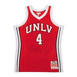 Larry Johnson Signed Authentic Mitchell  Ness UNLV Home Jersey LE 25 (UDA COA)