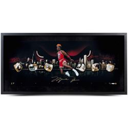 "Michael Jordan Signed Bulls ""City Of Rings"" LE 15x30 Custom Framed Photo (UDA COA)"