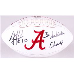 "AJ McCarron Signed Alabama Crimson Tide Logo Football Inscribed ""3x National Champ"" (Radtke COA)"