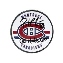 "Patrick Roy Signed Canadiens Logo Hockey Puck Inscribed ""Go Habs Go"" (UDA COA)"