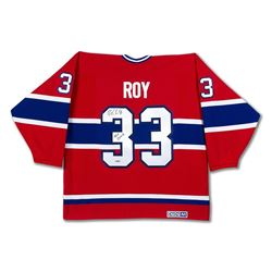 "Patrick Roy Signed Canadiens Jersey with Stanley Cup Centennial Patch Inscribed ""HOF 2006"" (UDA COA)"