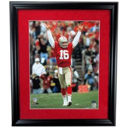 Joe Montana Signed 49ers 23x27 Custom Framed Photo Display (Radtke COA)