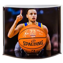 "Stephen Curry Signed NBA Game Ball Series ""73 Wins"" LE Basketball Inscribed ""NBA Rec 73-9"" with Cust"