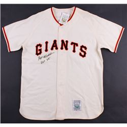 "Hoyt Wilhelm Signed Giants Throwback Jersey Inscribed ""HOF 85"" (JSA ALOA)"