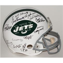 1969 Jets Authentic Pro-Line Throwback Helmet Team Signed by (24) with Joe Namath, Don Maynard, Paul