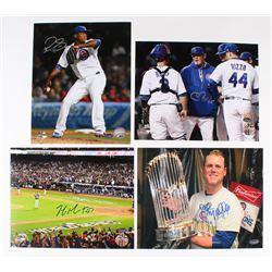 Lot of (4) Signed Cubs 8x10 Photos with Pedro Strop, Mike Montgomery, Chris Bosio (Schwartz COA)