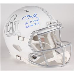 "Tom Brady Signed LE Super Bowl 51 Custom Matte White ICE Authentic Proline Speed Helmet Inscribed ""S"
