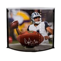 """Dak Prescott Signed LE """"The Duke"""" Official NFL Game Ball Inscribed """"ROTY 16"""" with Curve Display Case"""