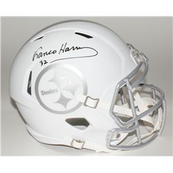 Franco Harris Signed Steelers Custom Matte White Full-Size Speed Ice Helmet (JSA COA)