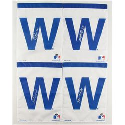 Lot of (4) Signed Cubs Flags with Miguel Montero, Hector Rondon, Chris Bosio (Schwartz COA)