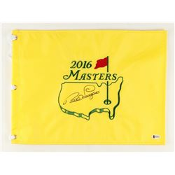 Bernhard Langer Signed 2016 Masters Golf Pin Flag (Beckett COA)