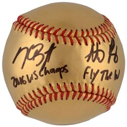 "Kris Bryant  Anthony Rizzo Signed Cubs 24 Karat Gold Baseball Inscribed ""2016 WS Champs""  ""Fly The W"
