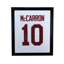 AJ McCarron Signed Alabama 23x27 Custom Framed Jersey (McCarron Hologram)