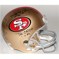 """Dwight Clark Signed 49ers """"The Catch"""" Full-Size Helmet with Hand-Drawn Play Inscribed """"The Catch""""  """""""