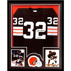 "Jim Brown Signed Browns 34x42 Custom Framed Jersey Inscribed ""HOF 71"" (Radtke COA)"