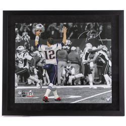 "Tom Brady Signed Patriots 27.5"" x 31.5"" Custom Framed Photo Display (Steiner COA  TriStar Hologram)"