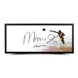 """Magic Johnson Signed lakers """"The Show"""" 20"""" x 46"""" LE Custom Framed Lithograph Inscribed """"Showtime"""" (U"""