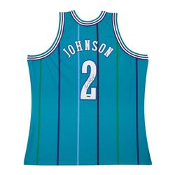 Larry Johnson Signed Authentic Mitchell  Ness Hornets Home Jersey (UDA COA)