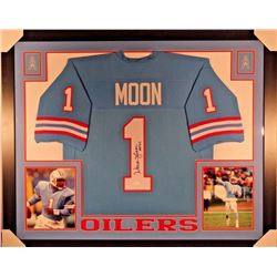 "Warren Moon Signed Oilers 35x43 Custom Framed Jersey Inscirbed ""HOF 06"" (JSA COA)"