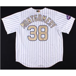 """Mike Montgomery Signed Cubs 2016 Worl Series Gold Jersey Inscribed """"2016 WS Champs"""" (Schwartz COA)"""