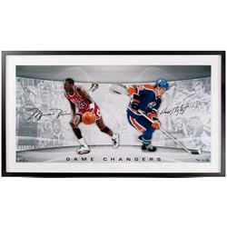 "Michael Jordan  Wayne Gretzky Signed ""Game Changers"" LE 18x36 Custom Framed Photo (UDA COA)"