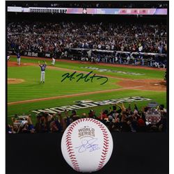 Lot of (2) Signed Baseball Items with (1) Mike Montgomery 8x10 Photo  (1) Matt Szczur 2016 World Ser