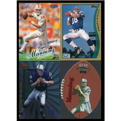 Lot of (4) Pyeton Manning Rookie Cards with 1998 Ultra #201 RC, 1998 Topps #360 RC, 1998 Bowman's Be