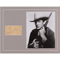 Gary Cooper Signed 11x14 Custom Matted Cut Display (JSA LOA)