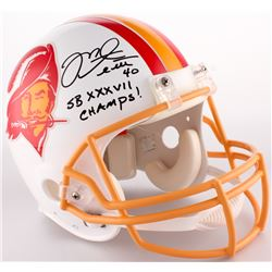 "Mike Alstott Signed Buccaneers Full-Size Authentic Throwback On-Field Helmet Inscribed ""SB XXXVII Ch"