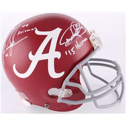 Mark Ingram  Derrick Henry Signed Alabama Crimson Tide Authentic Full-Size Helmet with Heisman Inscr
