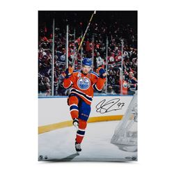 "Connor McDavid Signed Oilers ""Home Opener Celebration"" 16x24 Photo (UDA)"