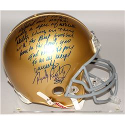 """Rudy Ruettiger Signed Notre Dame Fighting Irish Authentic Full-Size On-Field Helmet with """"Five Foot"""