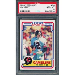 1984 Topps USFL #36 Jim Kelly RC (PSA 8)
