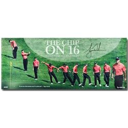 "Tiger Woods Signed ""The Chip on 16"" 15x36 Limited Edition Photo (UDA COA)"
