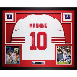 "Eli Manning Signed Giants 35"" x 43"" Custom Framed Jersey (Steiner COA)"