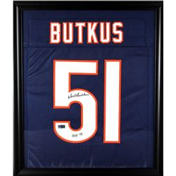 "Dick Butkus Signed Bears 23x27 Custom Framed Jersey Inscribed ""HOF 79"" (Radtke COA)"