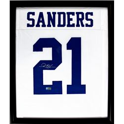 Deion Sanders Signed Cowboys 23x27 Custom Framed Jersey Display (Radtke COA)