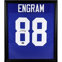 Evan Engram Signed Giants 23x27 Custom Framed Jersey Display (Radtke COA)
