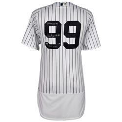 "Aaron Judge Signed Yankees Limited Edition Jersey Inscribed ""2017 AL ROY"", "".284"", ""114 RBI's"", ""52"
